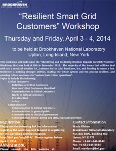 Resilient Smart Grid Customers Workshop @ Brookhaven National Laboratory | Upton | New York | United States